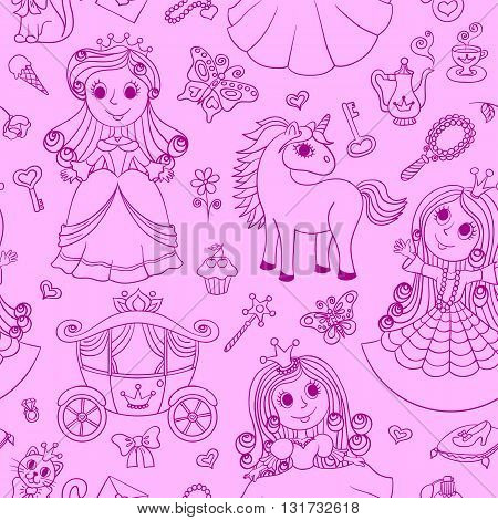 Seamless pattern with princesses. Scribble pink cartoon background for children.