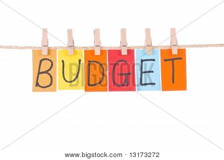 Budget, Colorful Words Hang On Rope
