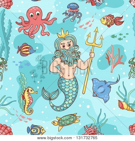 Seamless pattern with Neptune. Vector children background.