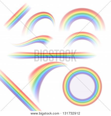 Rainbow icons set. Different shapes realistic isolated on white background. Colorful light and bright design elements collection for decorative. Symbol of rain sky clear. Vector illustration.