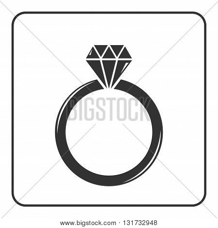 Diamond engagement ring icon. Crystal sign. Black circle silhouette isolated on white background. Flat fashion design element. Symbol of engagement gift jewelluxury expensive. Vector Illustration.