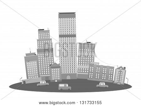 Modern Metropolis City Skyscrapers Skyline cartoon illustration