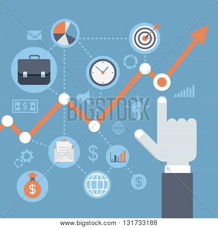Flat style modern web infographics growth, income rising concept