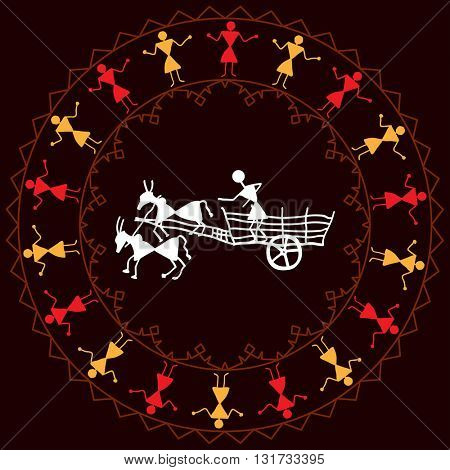 Folk Design Bullock Cart Vector Illustration