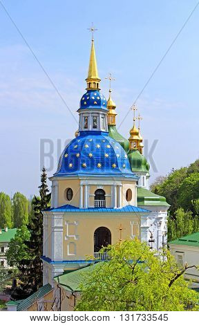 Belltower of Vydubychi Monastery in the spring, Kyiv, Ukraine