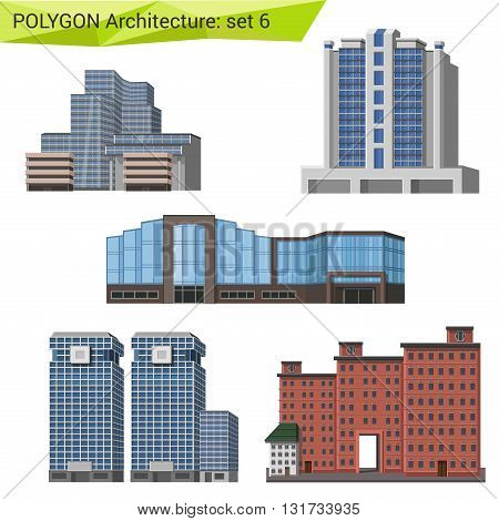 Polygonal vector city skyscrapers and buildings architecture