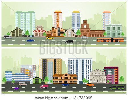 Set of Urban Buildings in a Flat Design