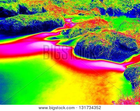 Mountain River In Infrared Photo. Amazing Thermography.
