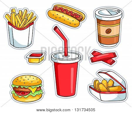 Set of fast food stickers. Vector cartoon illustration. Isolated on white.
