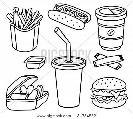 Set of fast food. Vector cartoon line-art illustration. Isolated on white.