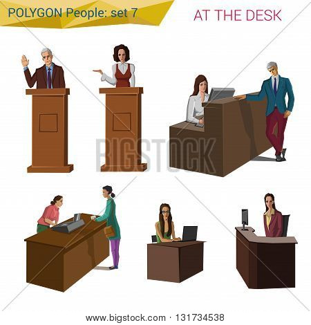 Polygonal style people standing & sitting at the desk set