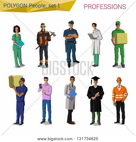 Polygonal vector professionals people: doctor, police, engineer