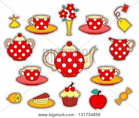 Tea drinking patchwork set. Vector illustration. Isolated on white.