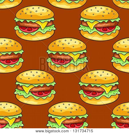 Seamless pattern with cheeseburgers. Vector cartoon background.