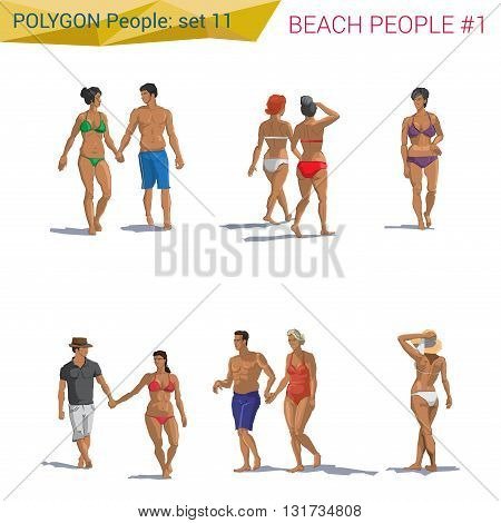 Polygonal style beach people walking set.  Polygon people collection.