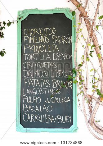 Blackboard or restaurant menu sign, spanish Tapas