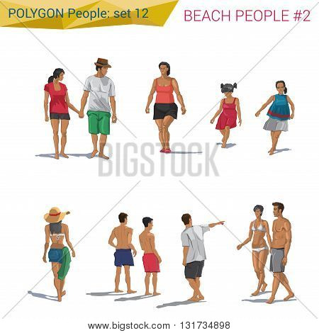 Polygonal style beach people resting set. Polygon people collection.