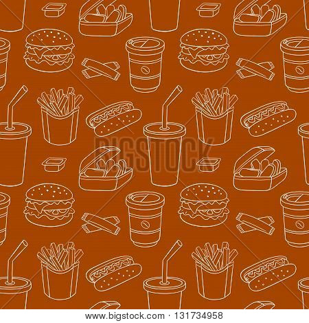 White line seamless pattern with fast food. Vector sketch background.