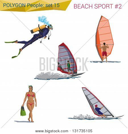 Polygonal style beach people walking set. Polygon people collection.
