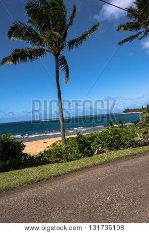 Sand beach along the coast of Kauai, Hawaii