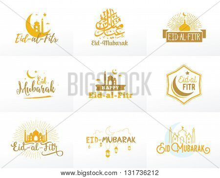 Vector illustration of eid al fitr muslim traditional holiday. Typographical design. Usable as background or greeting cards.