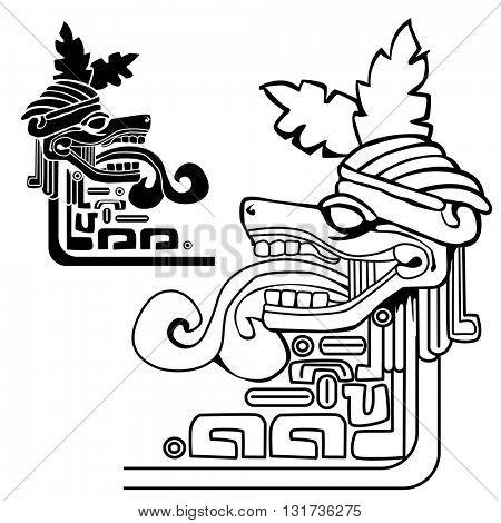 black and white mayan idol illustration