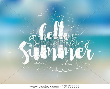 Hello summer text. Positive vector illustration. Usable as greeting card, t-shirt design, poster and print. Typographical design.