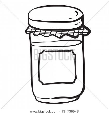 black and white jar with empty label cartoon