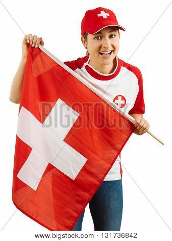 Photo of a Swiss sports fans waving a flag and cheering for her team isolated over white background.