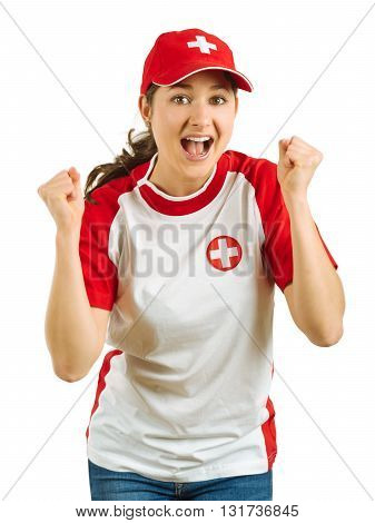 Photo of a Swiss sports fans excited and cheering for her team isolated over white background.