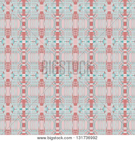 Abstract geometric seamless background. Delicate stripes and ellipses pattern with white, pink, brown and turquoise elements on light gray.