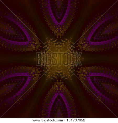 Abstract geometric seamless background. Star pattern with elements in gold, purple, dark brown, centered and blurred.