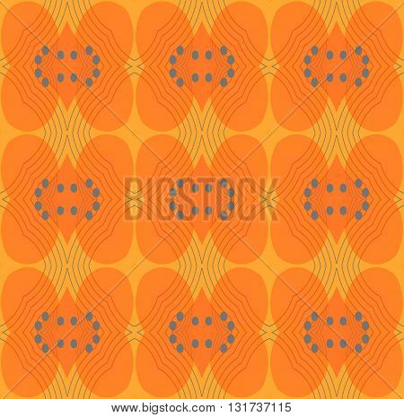 Abstract geometric seamless background. Ornate ellipses and diamond pattern in orange shades with gray circles and outlines.