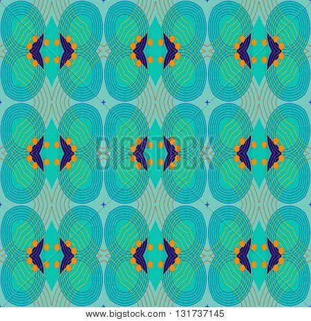 Abstract geometric seamless background. Ornate ellipses and diamond pattern turquoise with dark blue and orange elements and orange outlines on pastel blue.