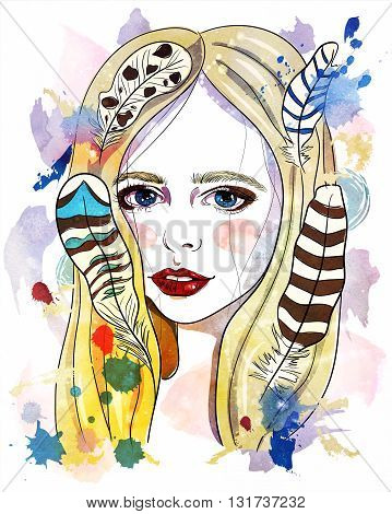 Portrait of beautiful girl with feathers in her hair. Fashion illustration on white background. Print for T-shirt