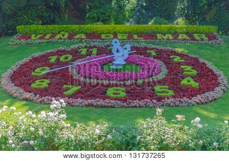 Vina Del Mar, Chile - November 01 2014: Flower Clock In Vina Del Mar, Chile. Vina Del Mar Is One Of