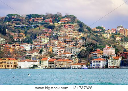 Houses On A Hill Over Bosphorus, Istanbul, Turkey