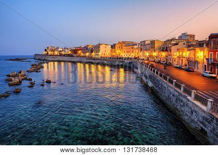 Syracuse Town On Sunset, Sicily, Italy