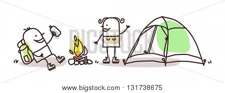 cartoon hikers with campfire and tent
