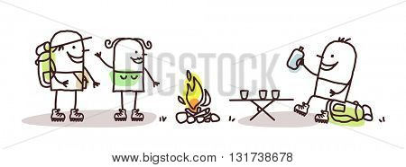 cartoon hikers with campfire
