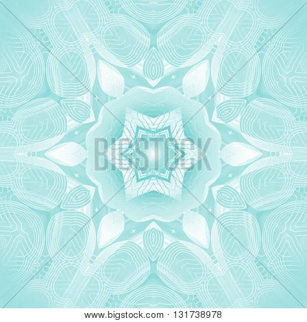 Geometric seamless background. Delicate abstract frost patern, ornament in white, light gray and aquamarine shades, centered, symmetric and dreamy.