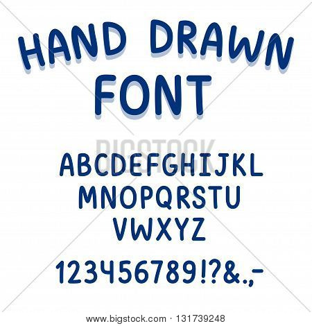 Vector hand drawn typeface. Cute cartoon handwriting font.