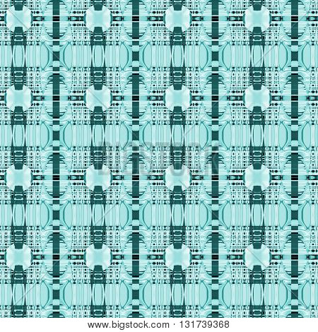 Abstract geometric seamless background. Delicate stripes and ellipses pattern with white, aquamarine, turquoise, dark green and black elements.