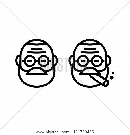 Freud line icon in stylized minimal style. Doctor with eyeglasses smoking cigar. Vector illustration.