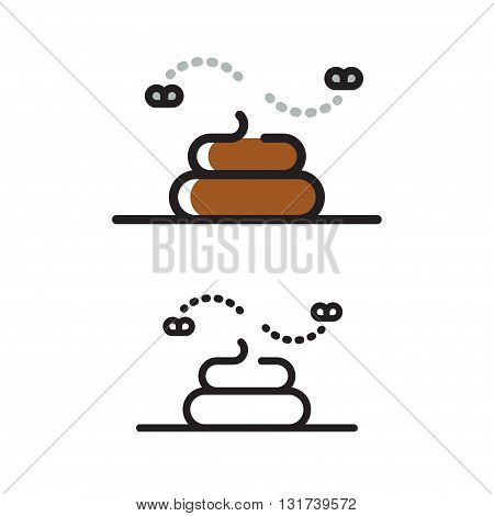 Modern geometric line icon of poop. Pile of with flies flat vector illustration.