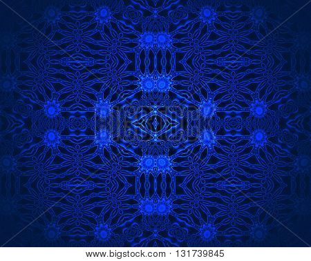 Abstract geometric dark background. Seamless floral ornaments azure and dark blue on black, ornate and dreamy.