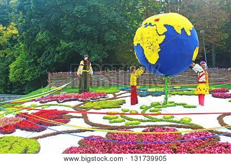 KYIV, UKRAINE - AUGUST 31, 2014: Annual traditional 59 flower exhibition