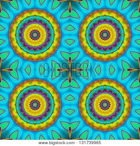 Abstract geometric multicolored background. Seamless regular concentric circles pattern yellow, orange, violet, light blue and mint green, exotic and conspicuous.