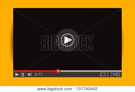Realistic video player with shadow. Media Player Interface. Vector Illustration. Mock Up for Player