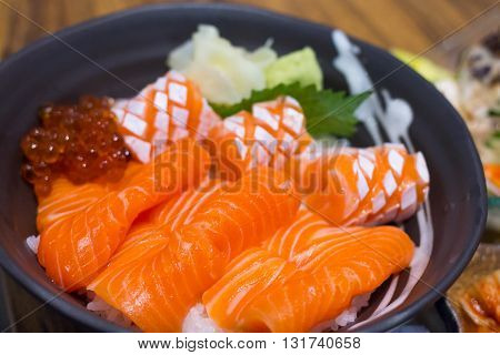 Salmon and ikura don, japanese food very delicious